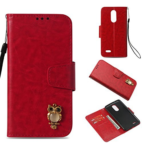 LG Aristo Case,Gloryshop Bling Crystal Owl Wallet Cover Flip Folio Leather Walle