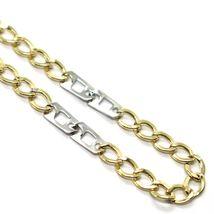 Bracelet or Jaune et Blanc 18K 750, Gourmette et Double Carrés, 3 MM image 3