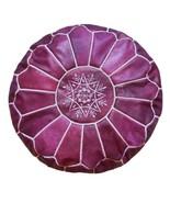 New Arrival Moroccan Leather Pouf Ottoman Luxury Pouffe Unique Violet Pu... - $89.00