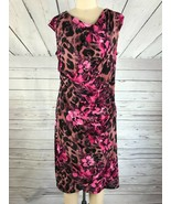 TOMMY HILFIGER Draped Neck Ruched Jersey Dress in Floral Abstract NWT 14 - $26.88