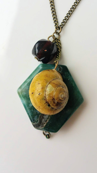 Stone Wonder necklace: aqua stone & natural, yellow snail shell with glass bead