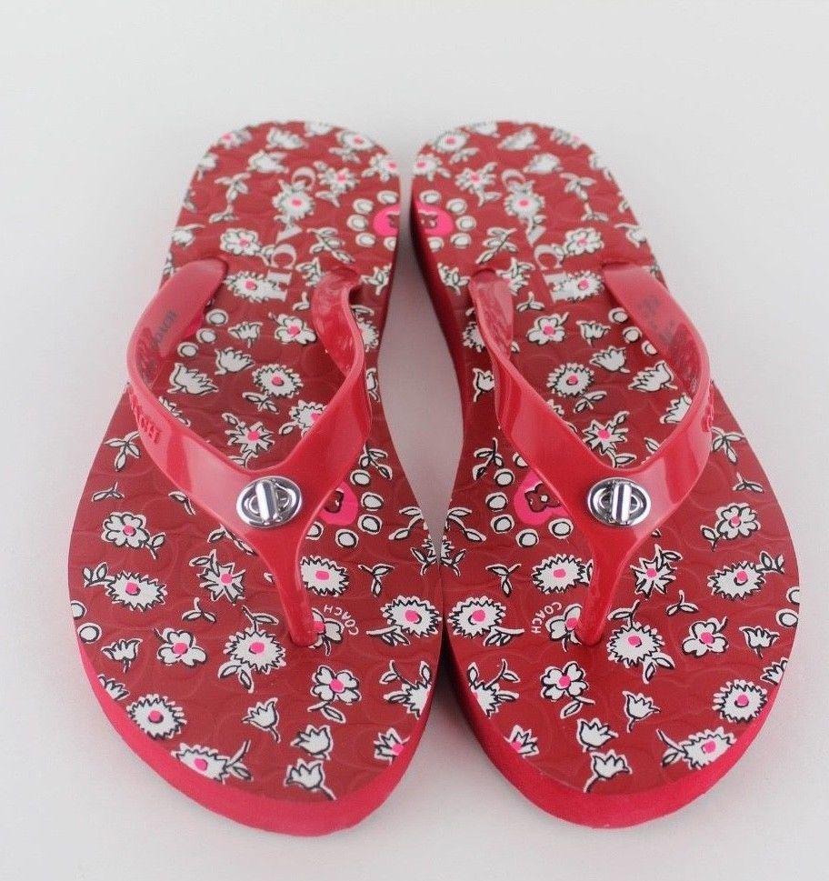 14da70f4591f 57. 57. Previous. Coach Abbigail turnlock flip flops rubber sandals flowers  red size 5-6 · Coach Abbigail turnlock flip ...