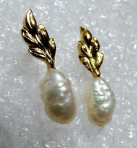 Gold Tone Metal Leaf White Rice Pearl drop earrings - $20.79