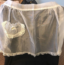 Vintage Lady's Hostess ORGANDY HALF APRON White Sheer Lace Trim 1940s - $21.49