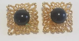Vintage 1992 Avon Bold Burst Earrings Black Clip On Gold tone Large Stat... - $17.11