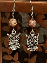 Silver Owl with Carved Amber Soapstone and Crystal Accents Dangle Earrin... - $9.45