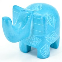 Vaneal Group Hand Crafted Carved Soapstone Sky Blue Elephant Figurine Made Kenya image 2