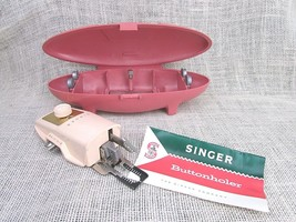 Vintage Singer Sewing Machine Buttonhole Kit w/space age case Salmon - $7.64 CAD