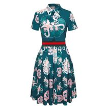 Casual Bow Tie Fit Flare Knee Length Green Short Sleeve Dress SMALL image 4
