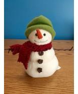 "Hallmark Jan Karon Mitford Snowman Plush 7"" Green Hat Red Scarf Mistletoe  - $10.84"