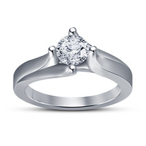 Fashion Jewelry 925 Sterling Silver Round Cut White Sim Diamond Solitaire Ring - £52.92 GBP