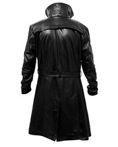 Blade Runner  2049 Ryan Gosling Officer K Brown Fur Lapel Black Leather Coat image 4