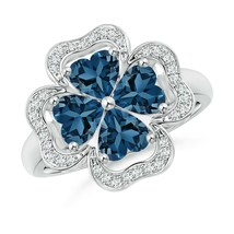 2.56ct Heart-Shaped London Blue Topaz Clover Ring in Gold Size 3-13 - $1,295.10