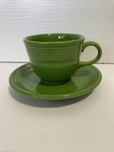 Fiesta Ware Shamrock Green Teacup And Saucer Set - $9.99