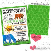 Brown Bear Invitation Birthday Baby Shower PRINTABLE FREE thank you - $12.00
