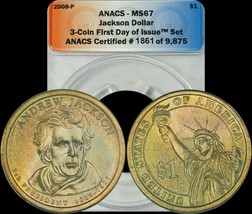 2008-P Andrew Jackson Dollar ANACS - MS67 Yellow Toned - $25.08