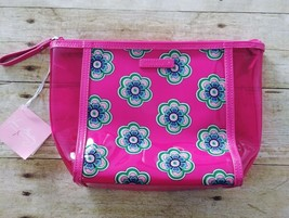 Vera Bradley Clearly Colorful Pink Swirls Flowers Cosmetic Bag Breast Cancer NWT - $24.14