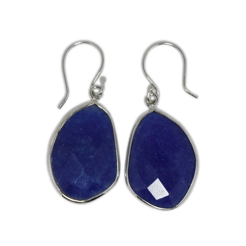 Uneven Shape Dyed Sapphire Gemstone 925 Sterling Silver Hook Earring SHER0053