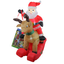 4.75' Inflatable Rocking Reindeer & Santa Lighted Christmas Outdoor Deco... - £56.78 GBP