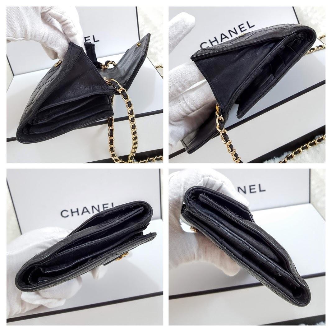 Auth Chanel Diamond Stitch Gold CC Caviar 2 in 1 Wallet Mini WOC Crossbody Bag image 3