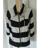 Weekend Andrea Jovine Navy Stripes 3/4 Sleeve Zippered Top size S - $9.99