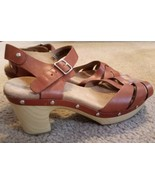 Clarks High Heel Strappy Open-toes Sandal Sz 8 1/2W Tan Leather NEW NO BOX - $33.85