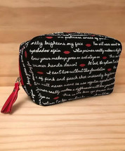 Laura Geller Make up / Cosmetics Bag Black & White Lettering with Red Lips New! - $8.79