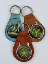 Lot of 3 Vintage Chrysler leather keychain keyring metal back - €16,93 EUR