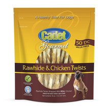 Cadet Gourmet Rawhide & Chicken Twists Chewy Dog Treats (50 pc) 12.6 oz Bag - $17.67
