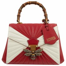 NWT Gucci Queen Margaret Quilted red white leather bamboo handle bag; Rt... - $2,499.99