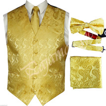 GOLD  XS to 6XL Paisley Tuxedo Suit Dress Vest Waistcoat and Tie & Bowtie Hanky - $26.71+