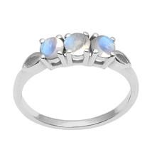 Trio Stone Rainbow Moonstone 925 Sterling Silver Stackable Women's Weddi... - $19.65