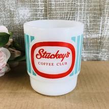 STUCKEY'S Coffee Club Mug Fire King Anchor Hocking Milk Glass Red w/Aqua... - $129.00