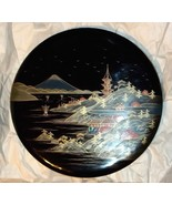 "Vintage Black Lacquered Wood Round Japanese Sectional Condiment Trays 12"" - $74.25"