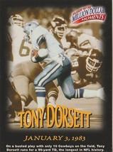 Tony Dorsett 1997 Fleer Million Dollar Moments Gamepiece # 29 - $0.98