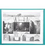 MINING Coal Mines Slate Quarries Sweden Newcastle Tools - 1844 Superb Print - $19.80