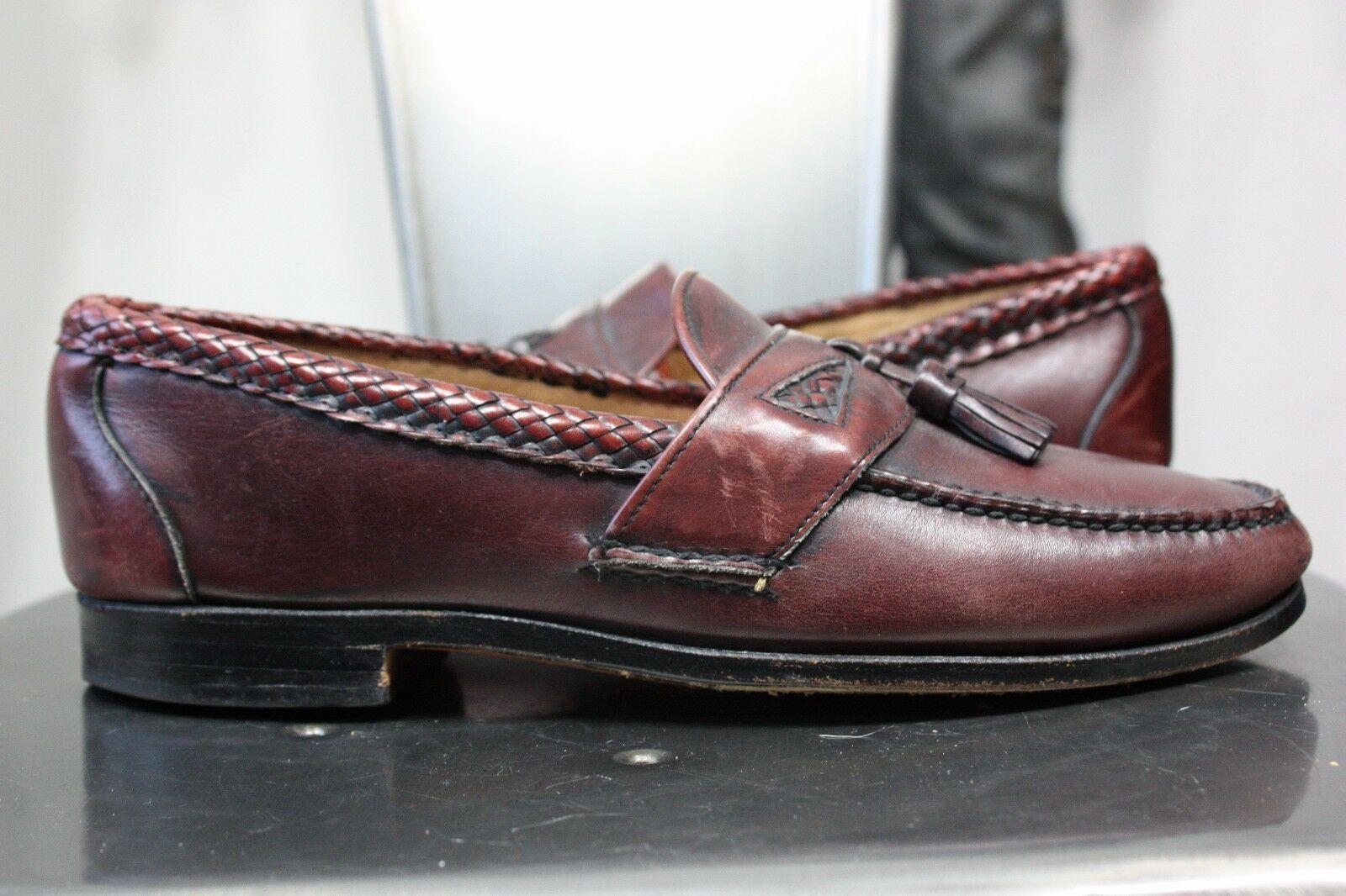 Maroon Color Apron Toe Genuine Leather Handmade Tassel Loafer Slip Ons Men Shoes