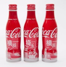 2 Yokohama & Saitama Coca Cola Aluminum Full bottle 3 250ml Japan Limited - $38.61
