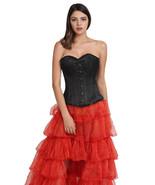 Black Satin Double Bone Halloween Costume Gothic Burlesque Overbust Cors... - $69.29