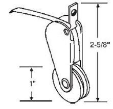 """STB Sliding Glass Door Roller, Nylon Wheel, 1"""" Diameter - $6.88"""