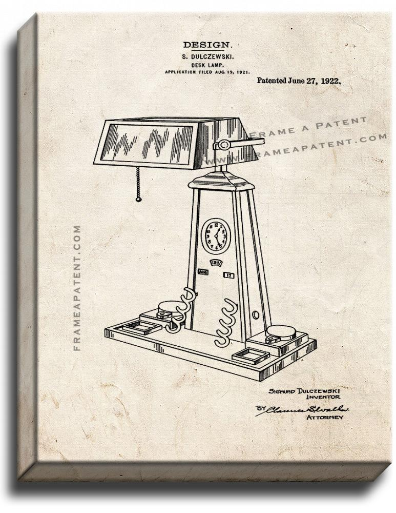 Primary image for Desk Lamp Patent Print Old Look on Canvas