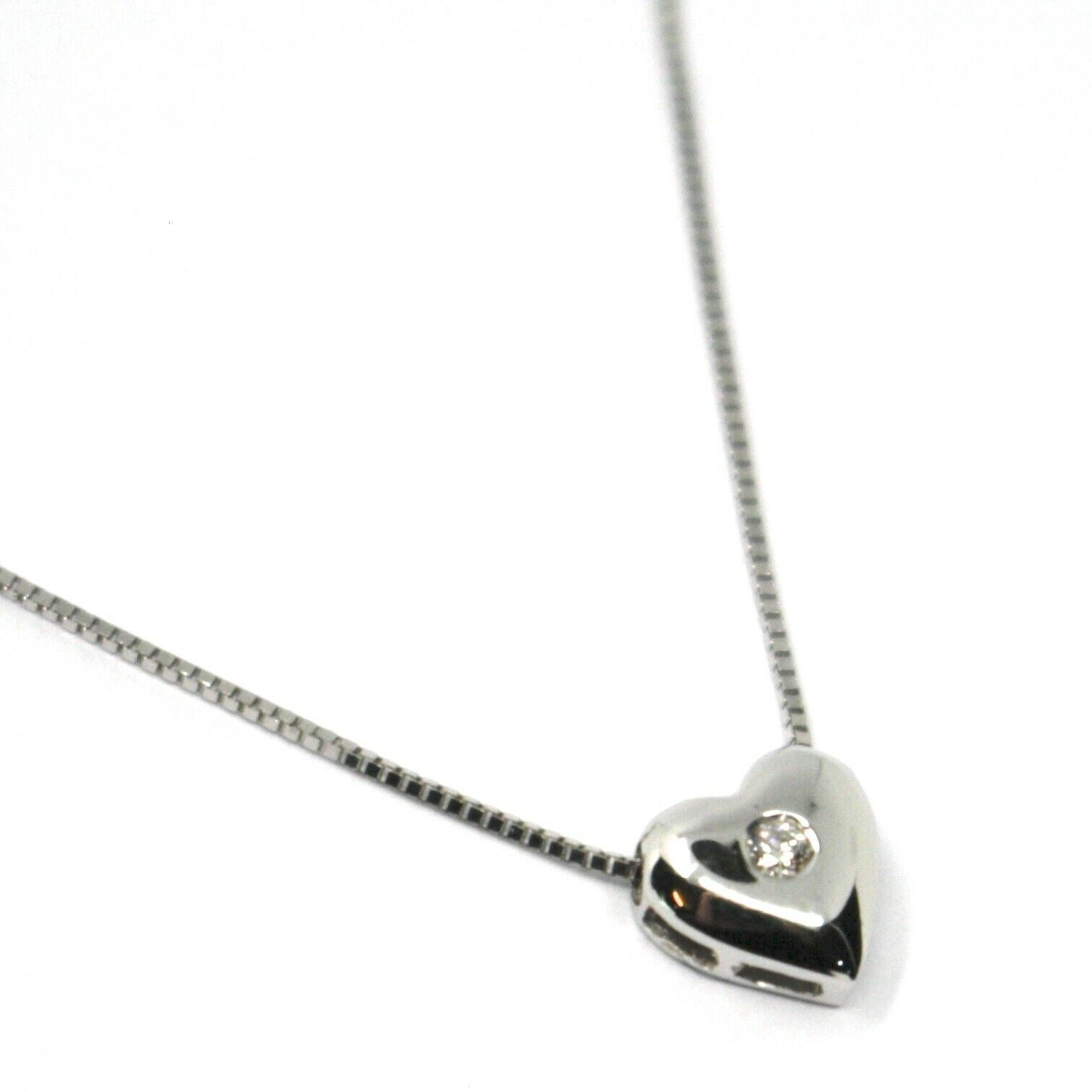 18K WHITE GOLD NECKLACE, MINI HEART PENDANT WITH DIAMOND AND VENETIAN CHAIN