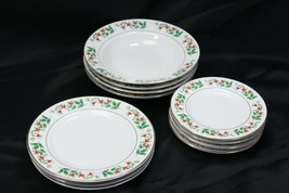 Gibson Xmas Charm Holly Berry Rim Soup Bowls Salad Bread Plates Lot of 11 - $53.89