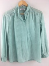 Vtg Swiss Dot Blouse Womens Blue White Two East Top Shirt - $25.74