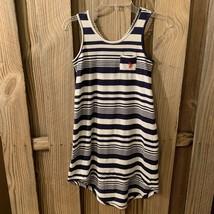 U.S. Polo Assn Dress 8 10 Blue White Stripes Crochet Back Sleeveless Hig... - $11.84