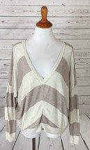 Splendid Striped V-Neck Wool Blend Boxy Sweater sz Small - $17.81