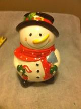 SNOWMAN COOKIE JAR---FREE SHIP--VGC - $17.80