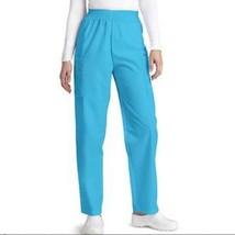 Scrub Pants 2XL Turquoise Elastic Waist Cargo Adar Uniforms Nurse Ladies... - $19.37