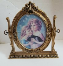 Vintage Swivel Photo Frame British Registered Design Tilt Oval Gold 8 x 10 - $752,17 MXN