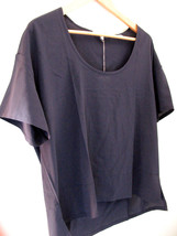 NEW! BELLA LUXX Los Angeles Gorgeous Silk Navy Blue Airy Blouse Top L $128 - $47.40
